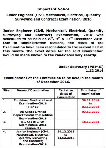 SSC JE Exam Re-Scheduled