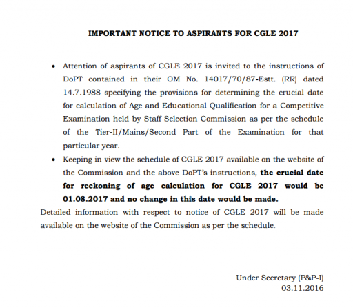 SSC CGL New age limit notice
